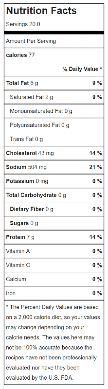 Nutrition Facts Smoked Wings