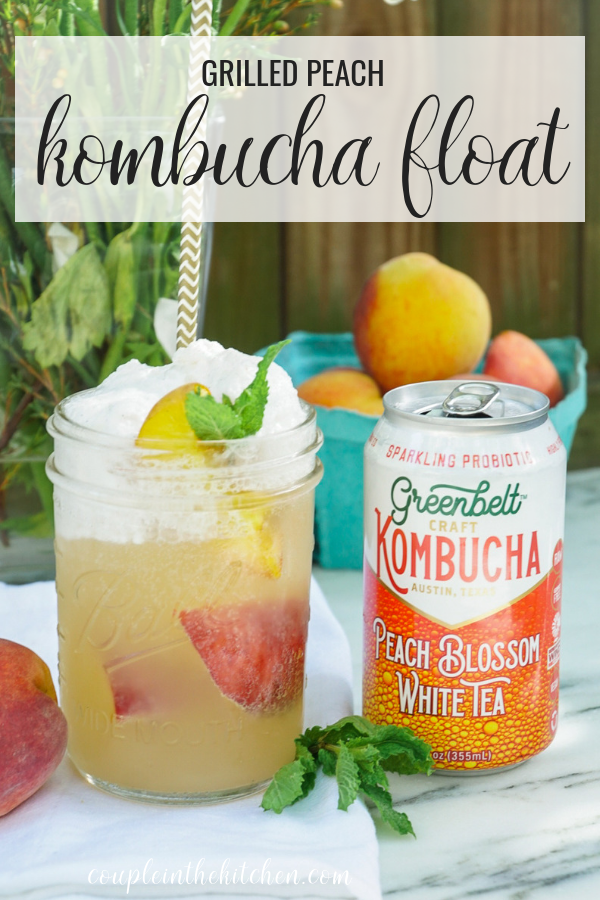 The Best Summer Kombucha Recipe | Grilled Peach Kombucha Ice Cream Float | www.coupleinthekitchen.com