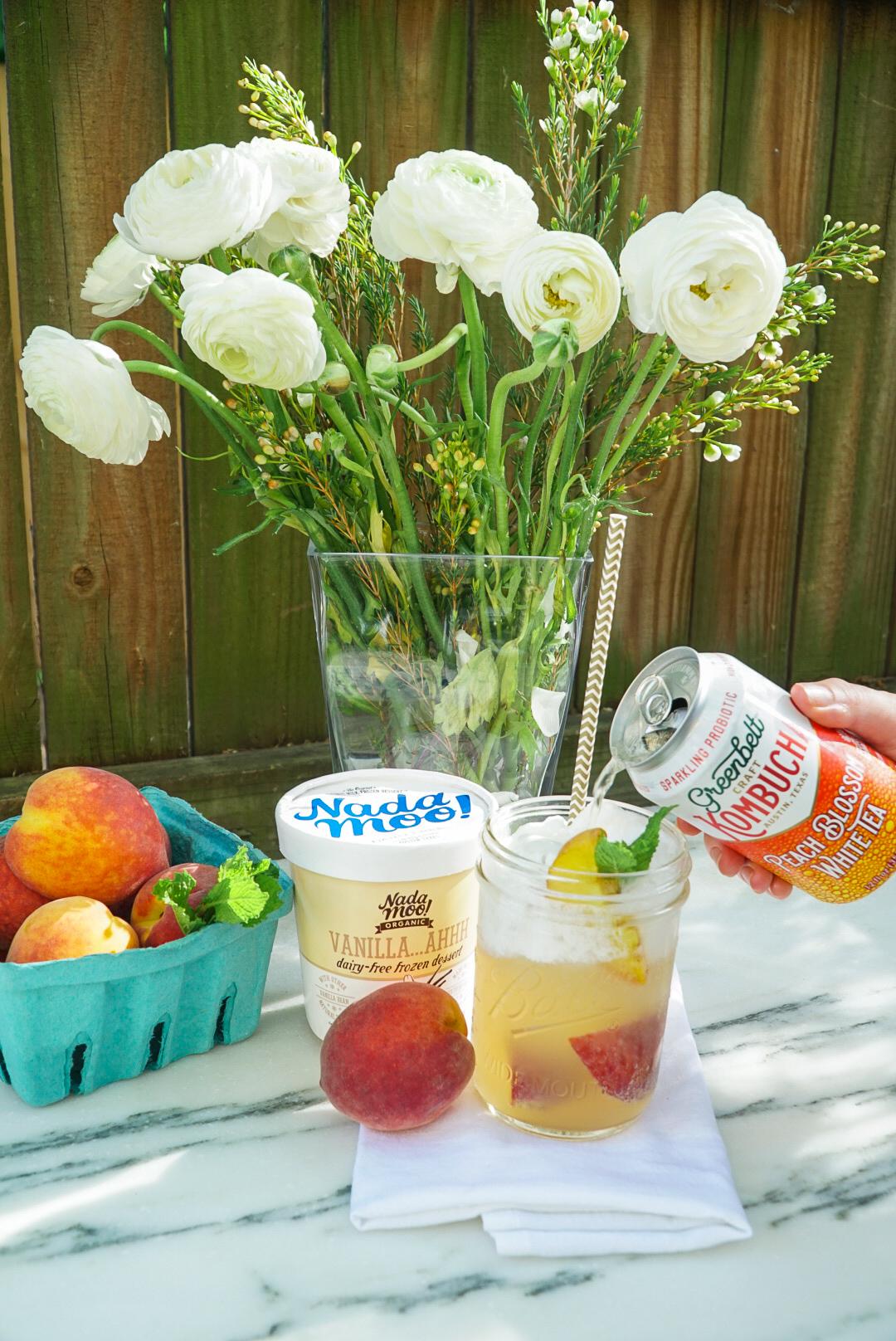 The Best Summer Kombucha Recipe   Grilled Peach Kombucha Ice Cream Float   www.coupleinthekitchen.com