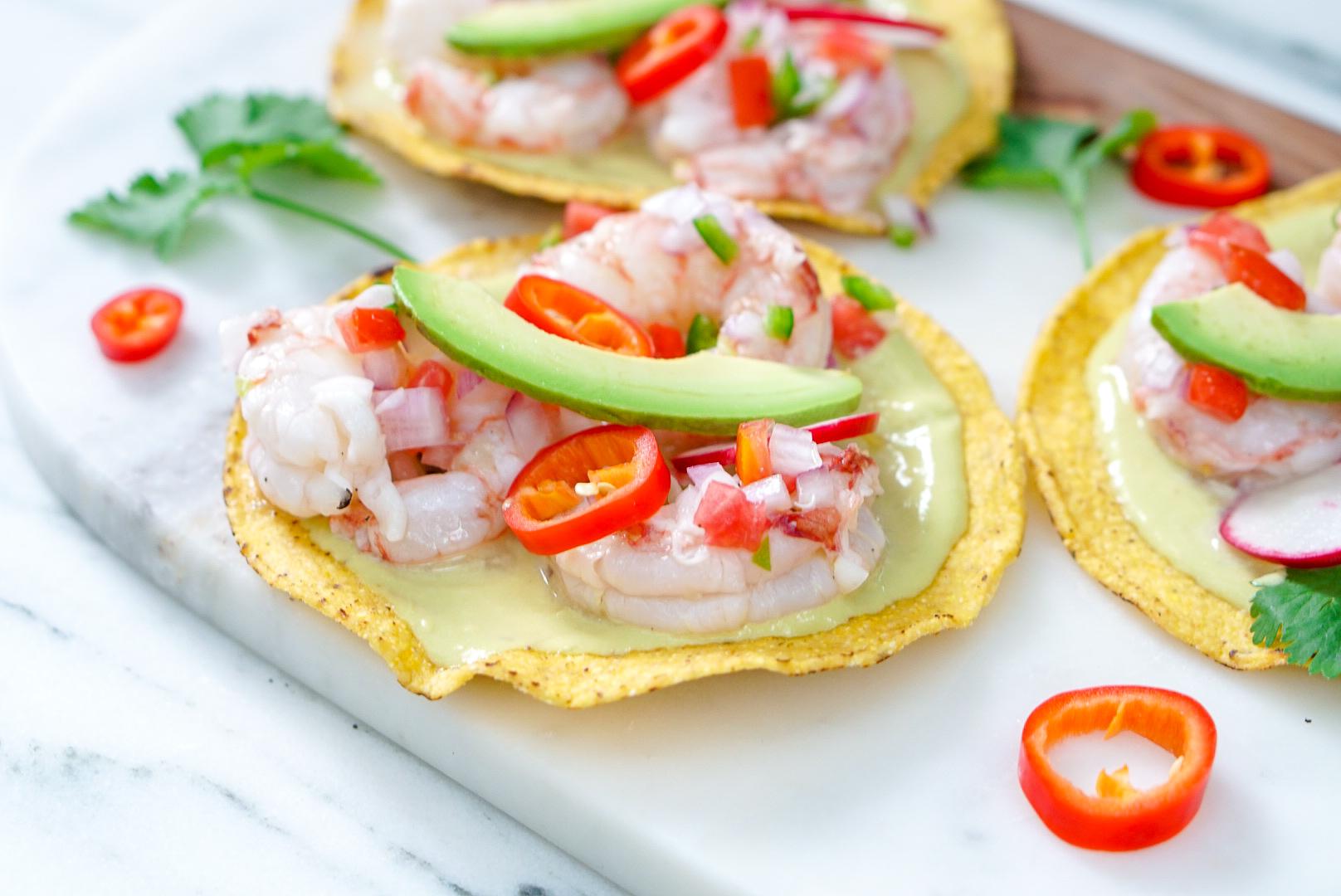 Shrimp Ceviche Tostadas | Gluten Free, Low Cal, No Cook Recipe | coupleinthekitchen.com