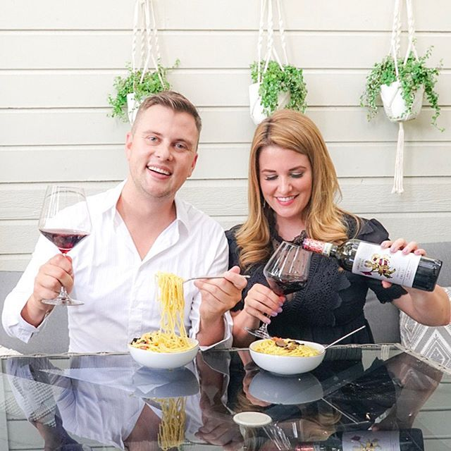 Italian night at home! 🇮🇹 We're reminiscing about our trip to Italy while drinking @cavalieredoro_wines chianti wine and eating homemade carbonara pasta on the piazza, errr... we mean patio 🍝. The wine is perfectly paired with Italian classics like pizza and pasta or great on its own! Follow @cavalieredoro_wines on social to learn more about Cavaliere d'Oro. 🍷 #BoldOrNothing #LiveItalia