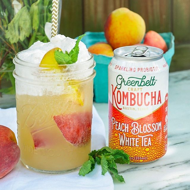 @greenbeltkombucha floats are just peachy! 🍑 Obvi our fridge is always stocked with @greenbeltkombucha, this kombucha float uses grilled peaches, ice cream, and peach blossom white tea kombucha! A healthier taste of summer! Get the recipe in our bio. #FromOurKitchen