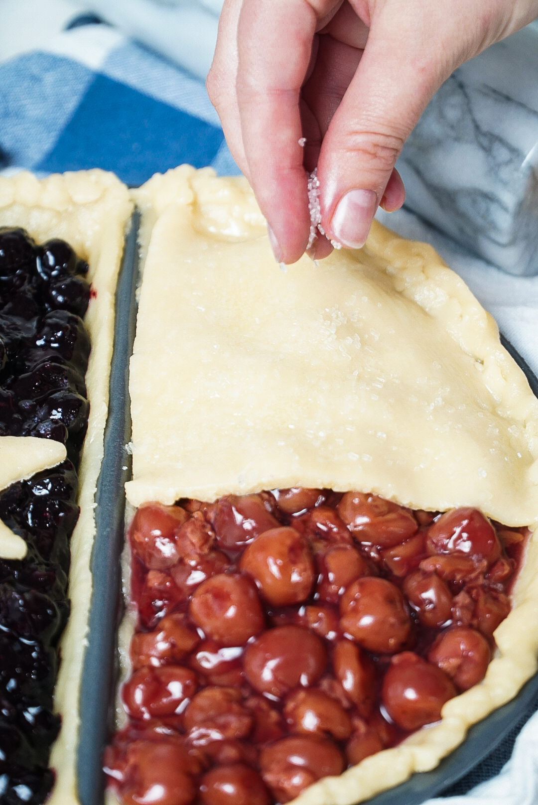 Red, White, and Blue Pie Recipe | Blueberry Pie and Cherry Pie | coupleinthekitchen.com