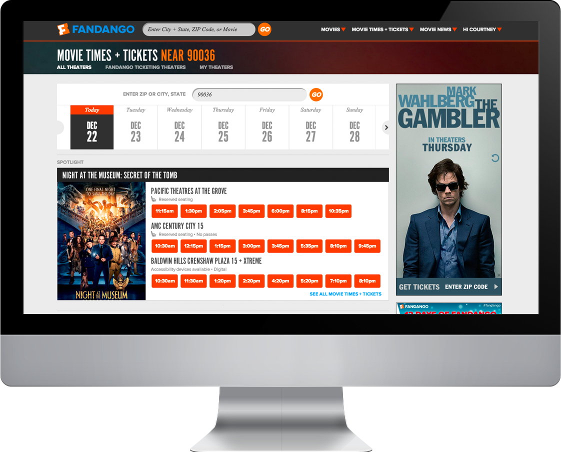 Native Ad : Theater Selection Page Featured Movie Placement