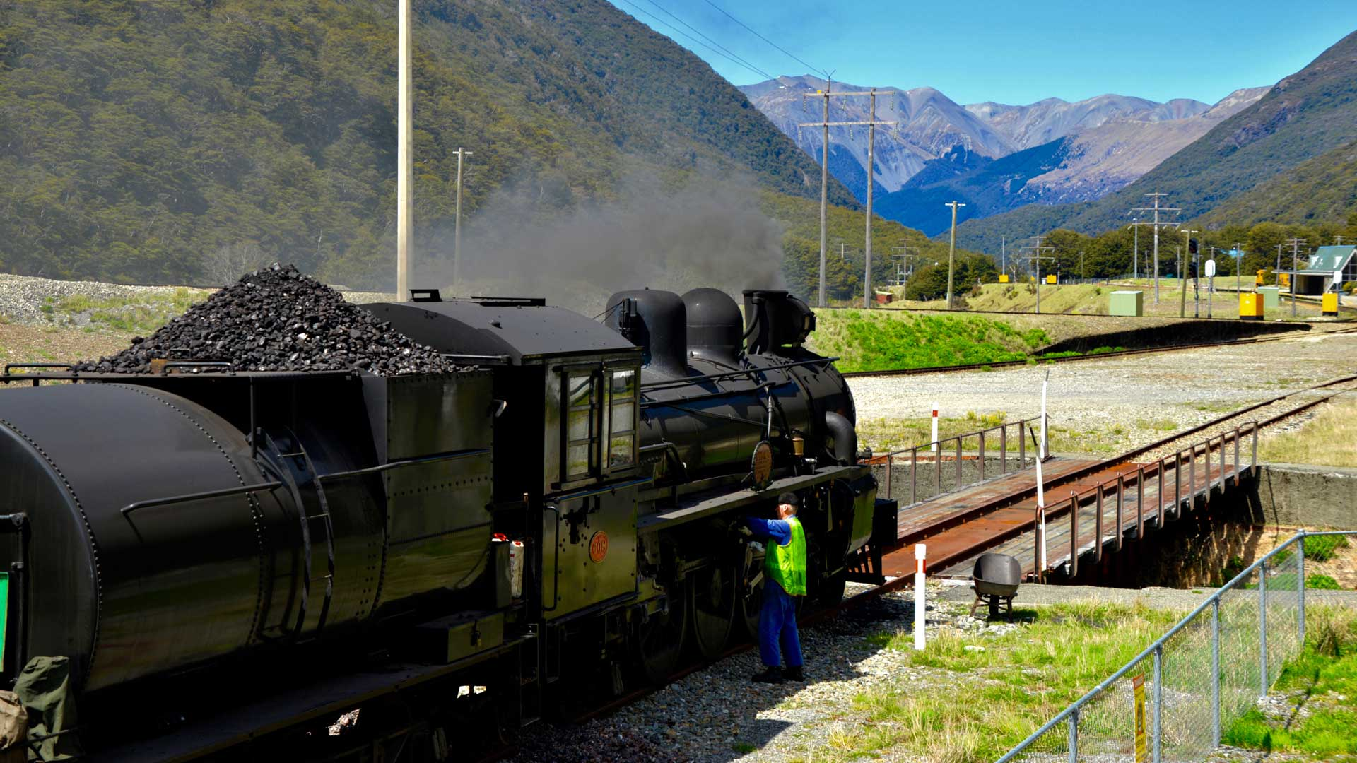 Steam train at Arthur's Pass Station