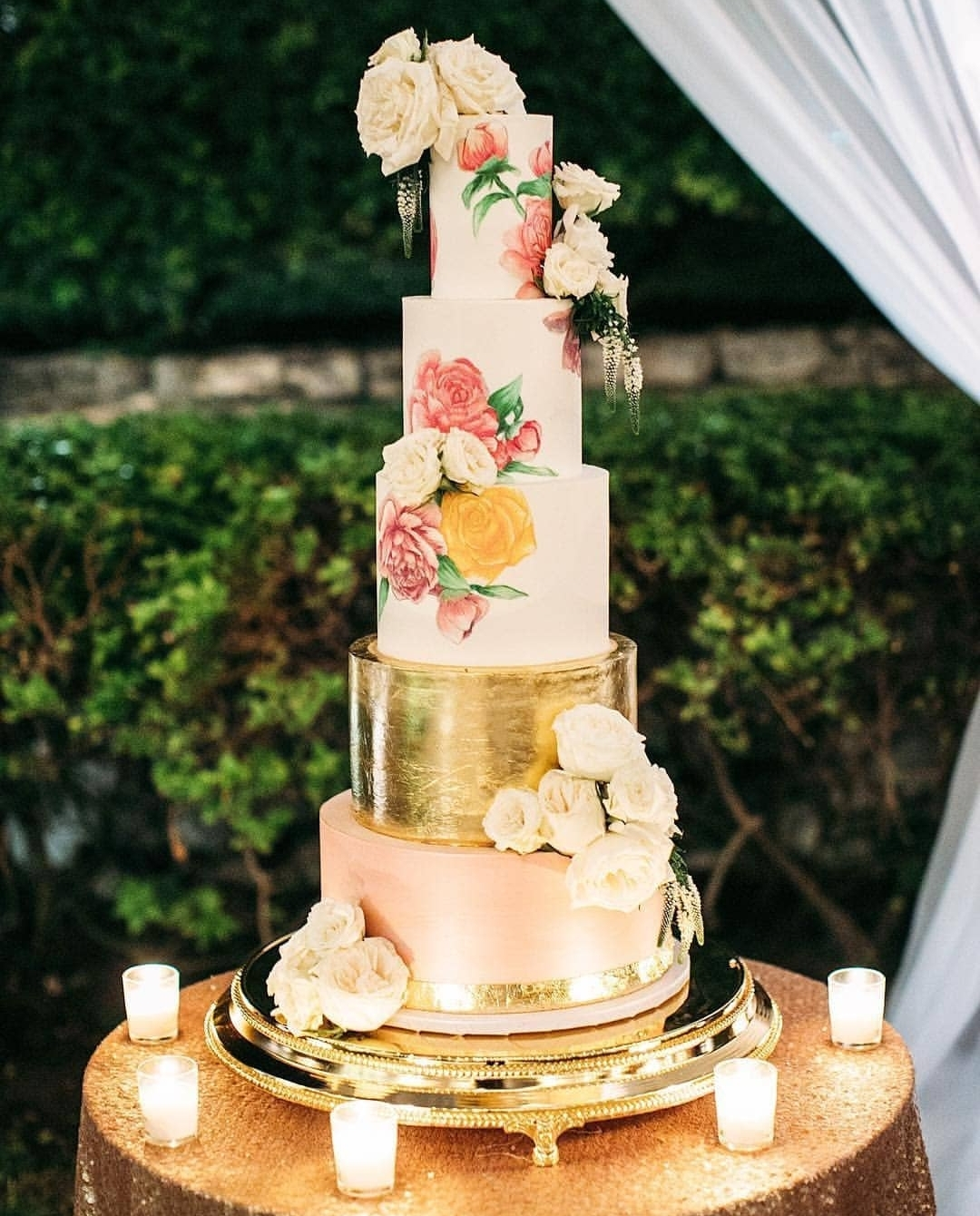 Goldstein Wedding - Custom Design featuring a beautiful Luster Technique with Hand painted Florals and a 24K gold leaf tier