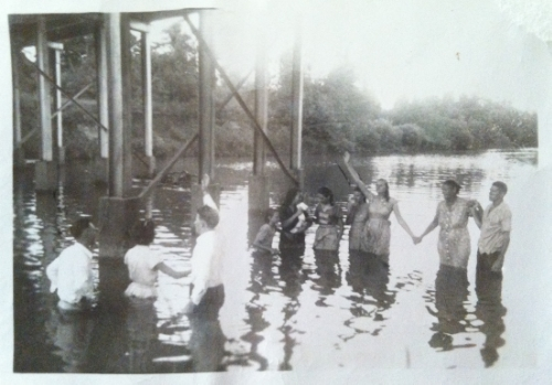 A spiritual legacy begins. The two people on the left of the picture are my Granny and Paw being baptized.