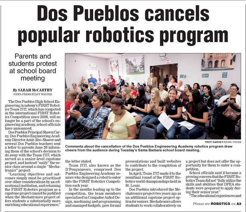 For more information visit:  http://www.noozhawk.com/article/students_protest_end_of_popular_dpenguineers_engineering_robotics_team#.VZ1Vw_W2Xks.facebook