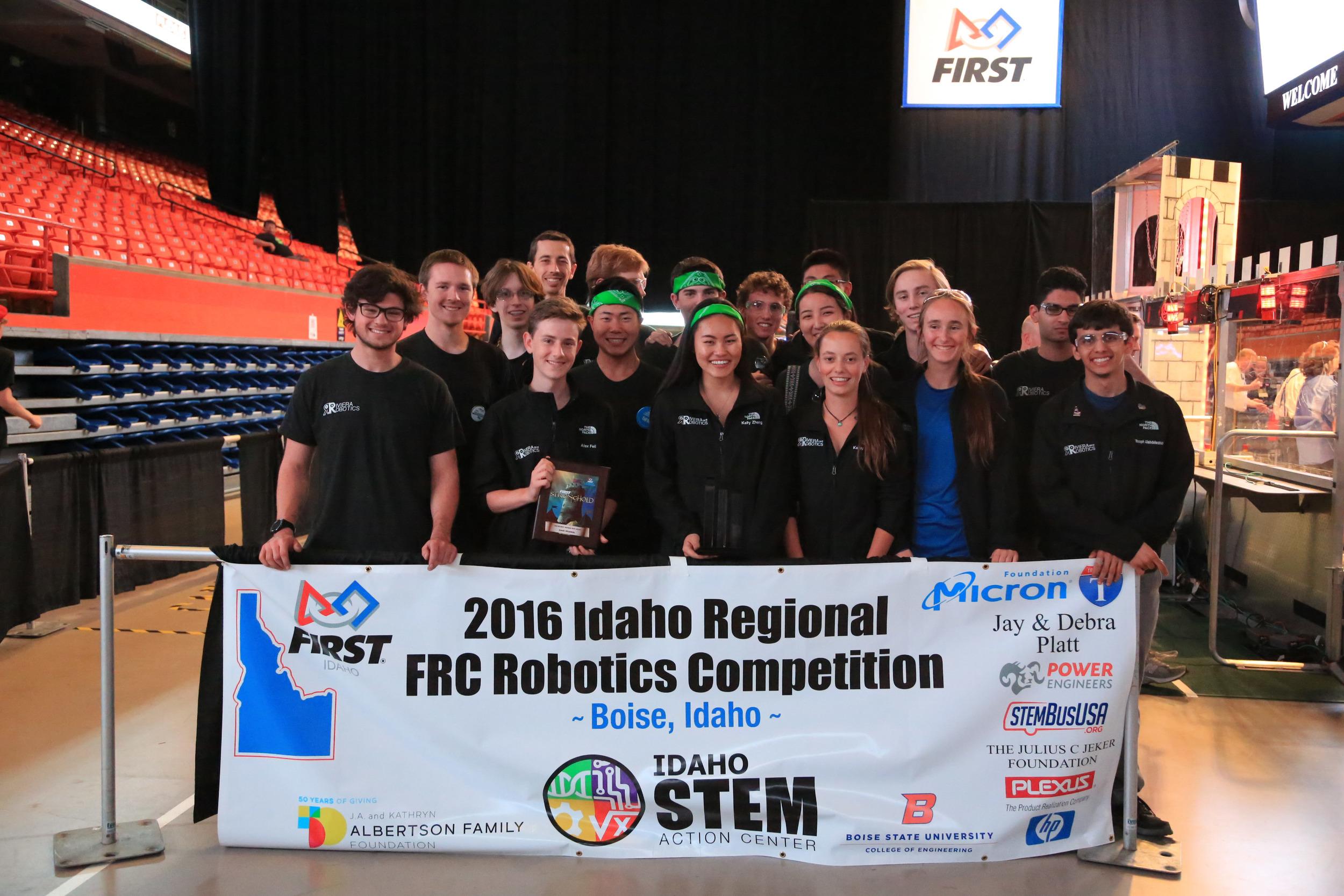Team 5818 after winning the FRC Idaho Regional Rookie All-Star Award
