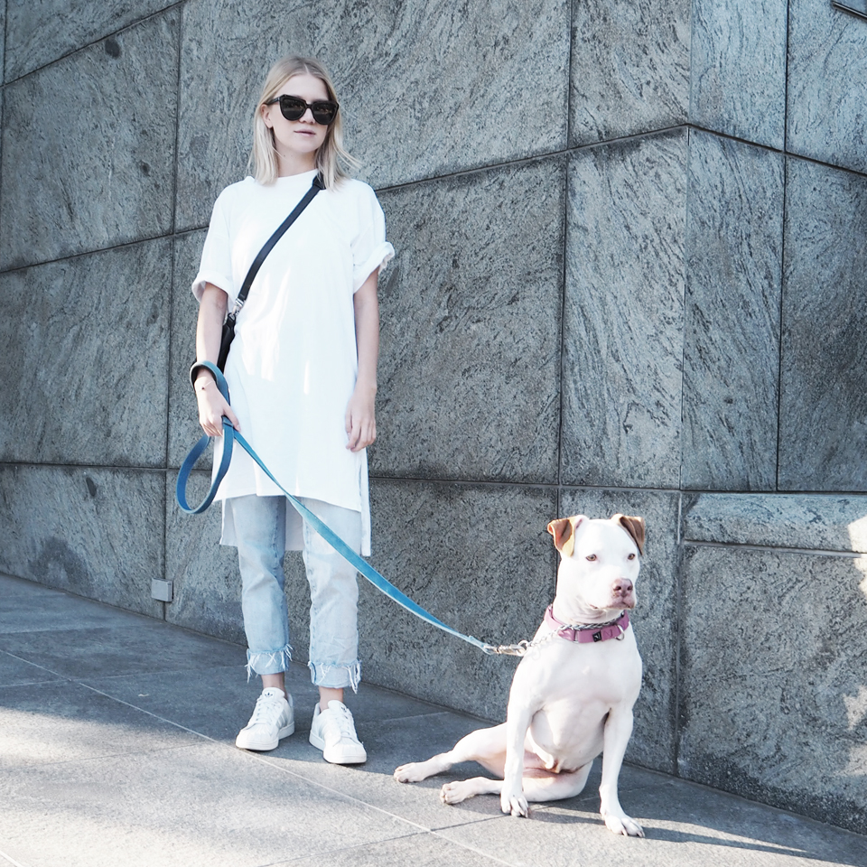 Oversized Tee by  Monki , jeans by  Win Win shop ,sunnies by  Komono  (via  Freshlabels.cz ) and sneakers by  Adidas .