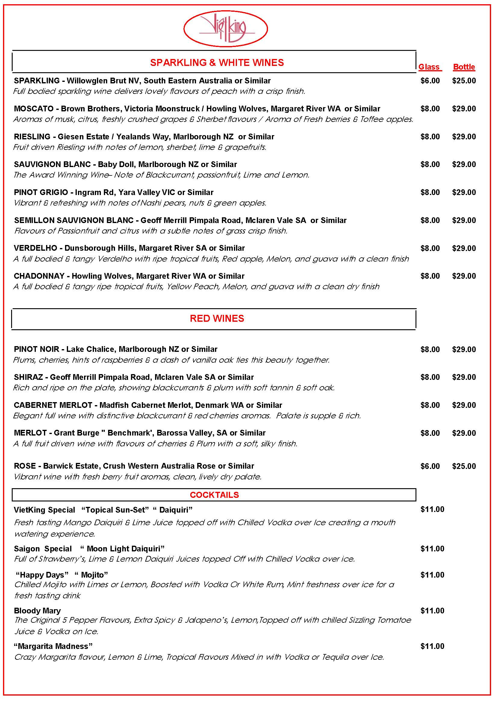 Vietking Wine List