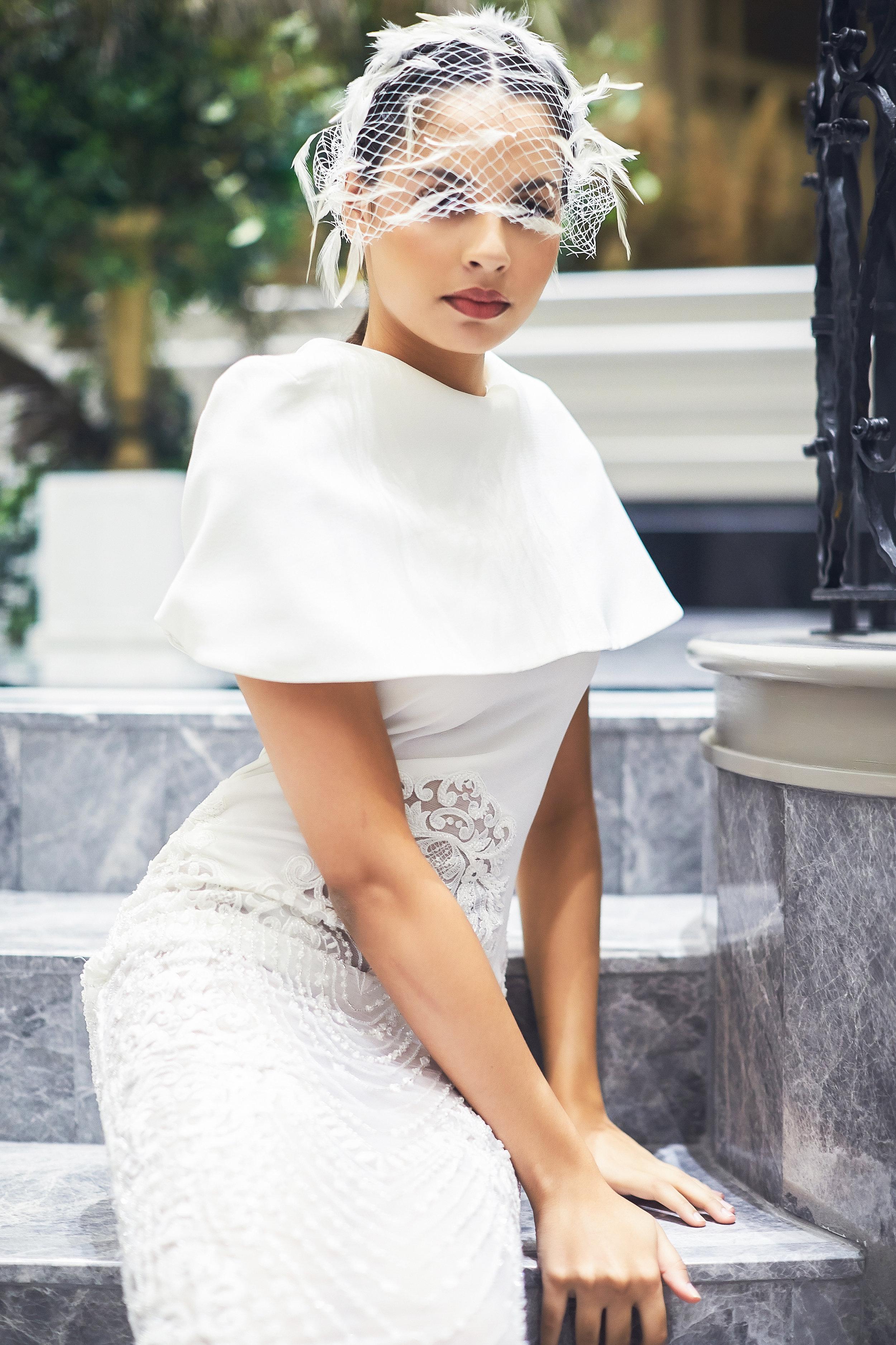 Bridal Wear by   Amaze Atelier   & Head piece by   Bremen Wong Millinery
