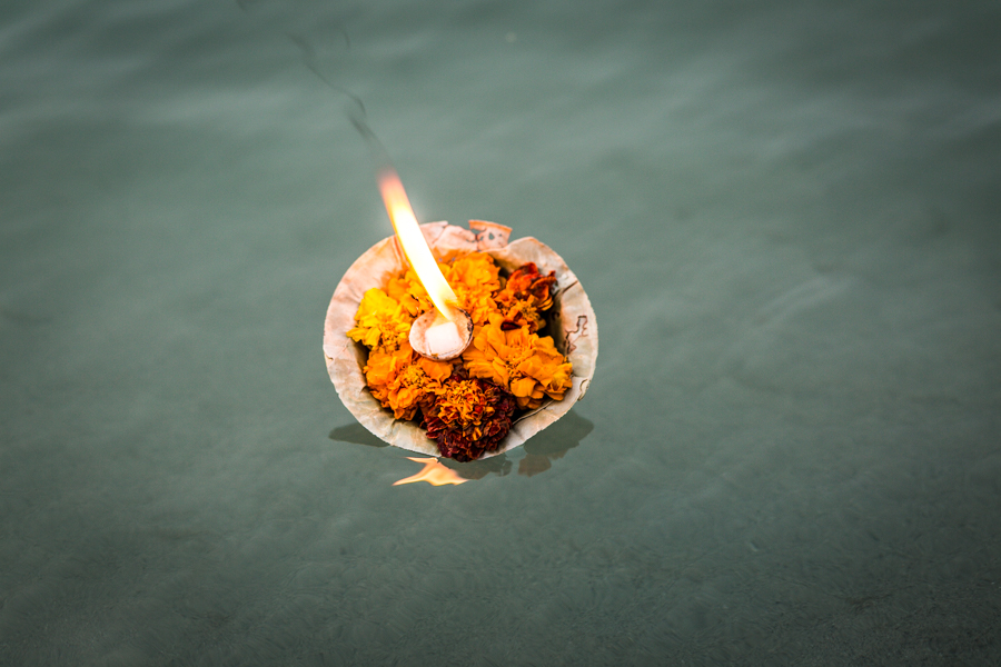 It is customary to release an Aarti plate into the river at the culmination of the Aarti ceremony. The plates contain ghee or camphor for burning as well as flowers, rice, incense, or other offerings in honor of a God or a person. The Ganga is sacred to Indians and it is commonly believed the river has healing powers.