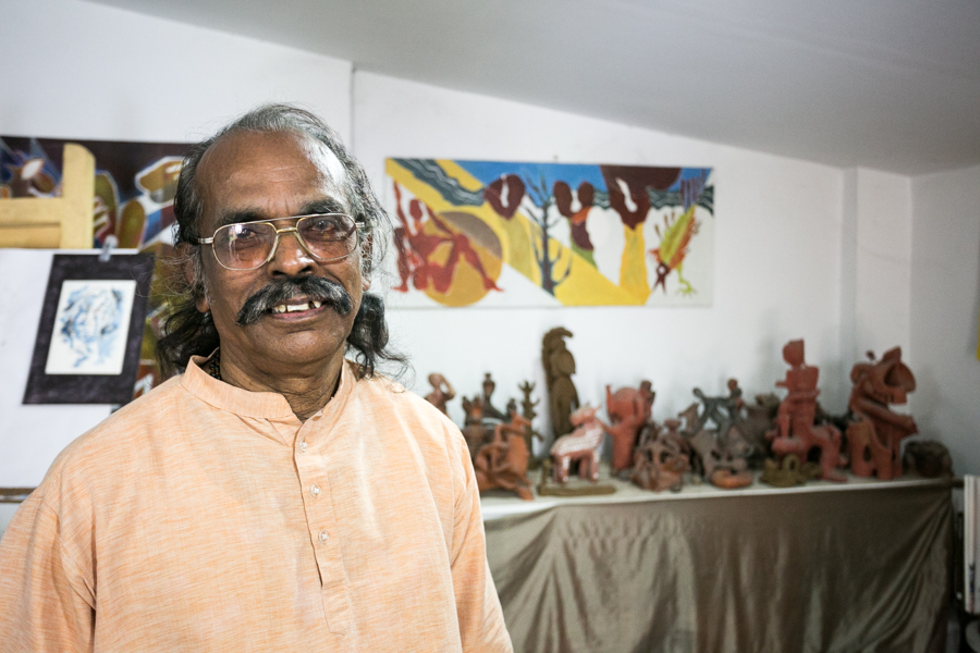 P.S. Nandhan inside his home studio.