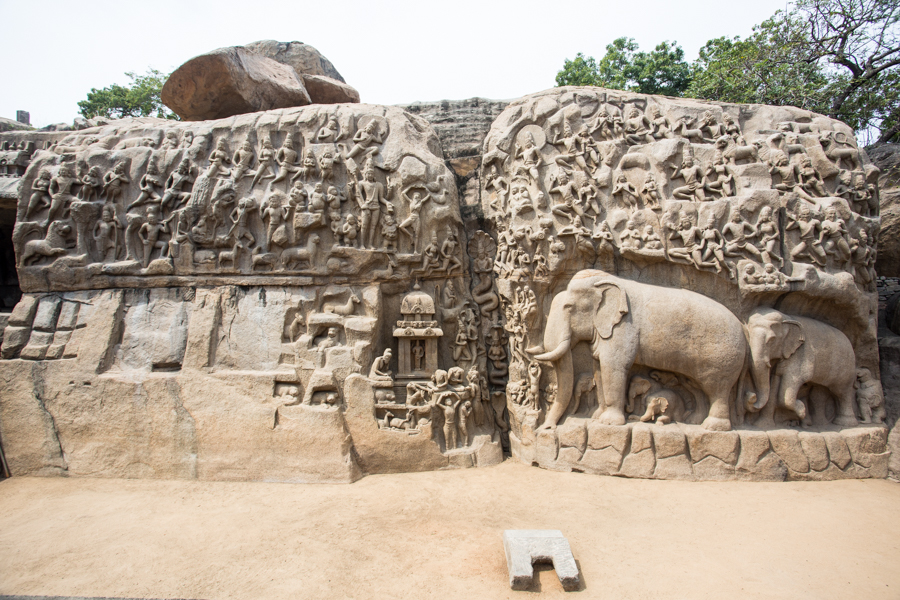 Stone carving at Mamallapuram Hill