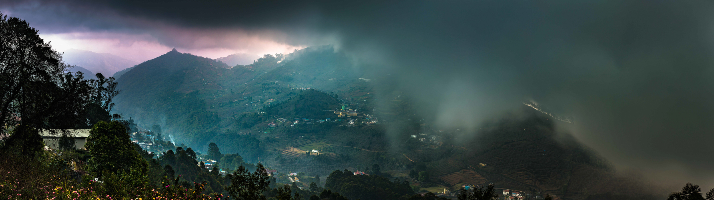 Evening fog blanketing Kodaikanal.