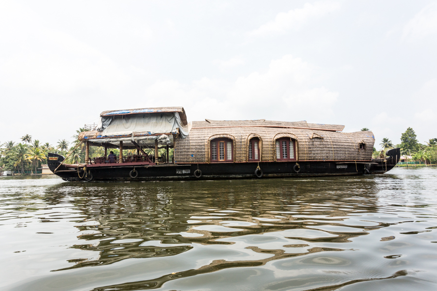 Luxurious thatched houseboats can be rented by the day.
