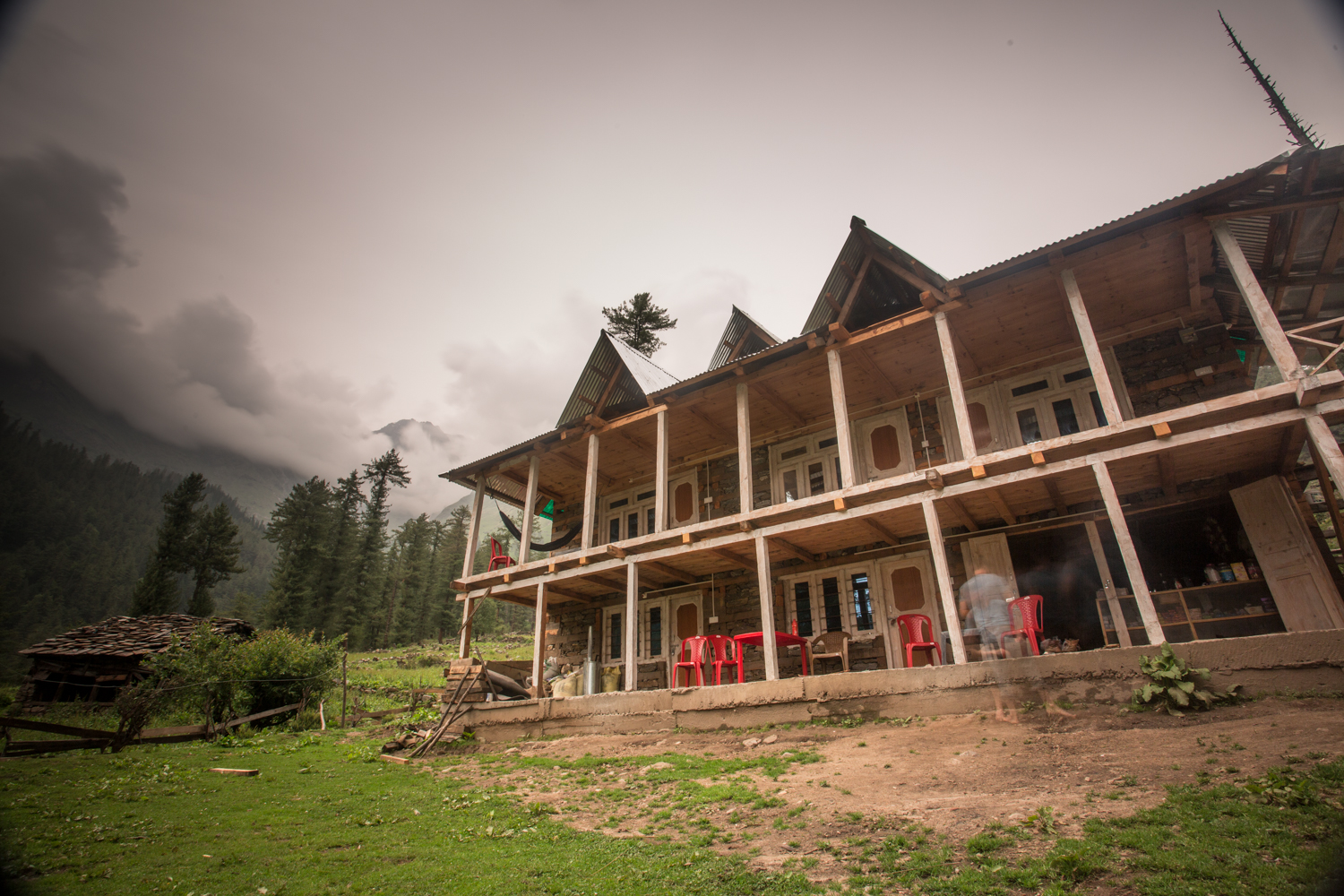 Our guesthouse in the newly developed outpost of Kulta. The building took four men four months to build. Marijuana is farmed in the surrounding mountains.