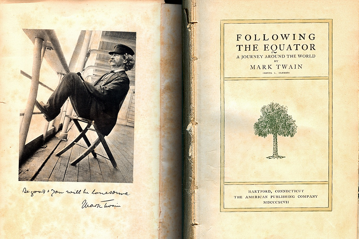 Mark Twain's,   Following the Equator: A Journey Around the World,  is composed of travelogues inspired by the eminent American writer's tour of Hawaii, Fiji, New Zealand, Australia and India.