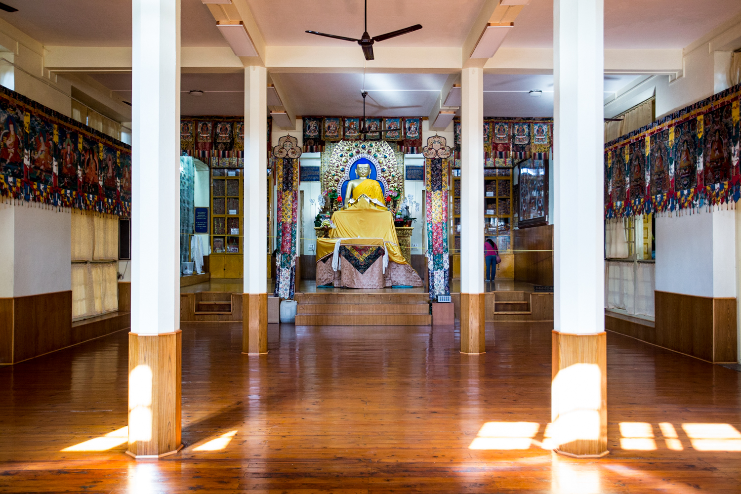 The main hall of the Tsuglagkhang Temple. The Dalai Lama established his residence in Dharamshala in 1960. Since that time, the region has served as the political and spiritual center for the Tibetan people in exile.