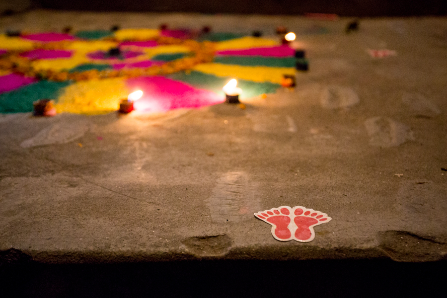 Footprints to show Lakshmi, the Hindu goddess of prosperity, the way into the Herr's home.