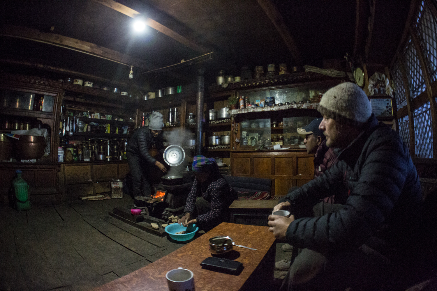 Anticipating our breakfast of thenthuk -- a traditional Tibetan pulled noodle soup -- at our guesthouse in Nile.