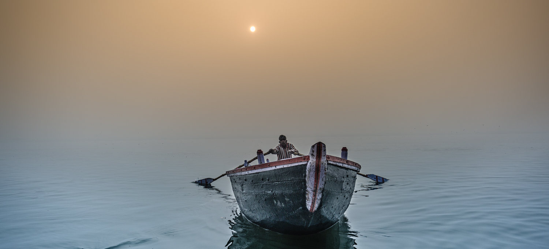 Sunrise at the Ganges River,Varanasi, India.