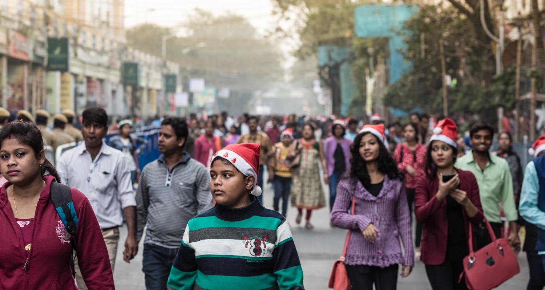 Christmas day in Kolkata, India.