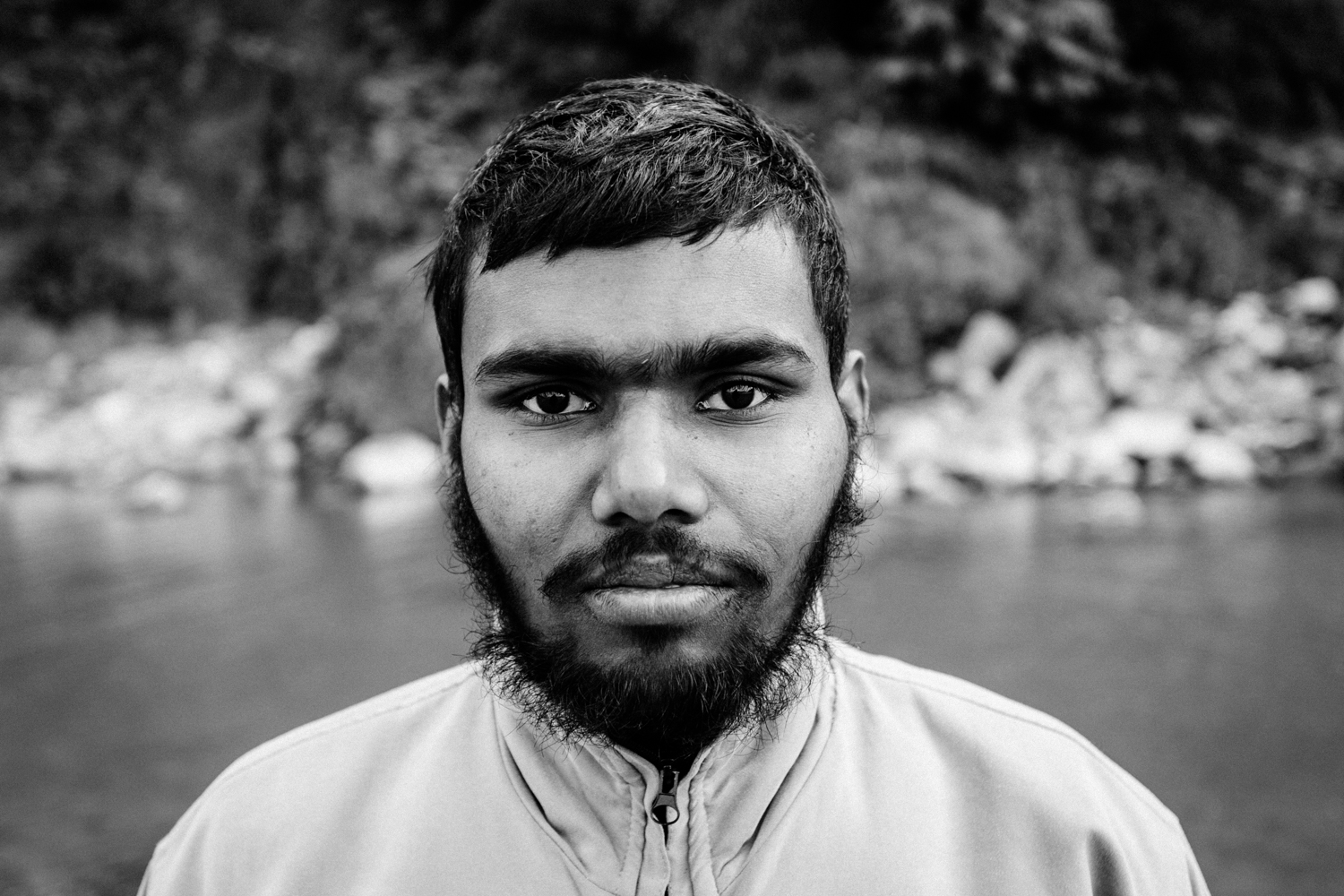 "This 21-year old lives in a tent on the banks of the Ganges in Rishikesh. He is a yogi and, from what I could understand from his limited English, aspires to become a Sandhu (a Hindu monk or ""holy man""). I photographed him near his abode."