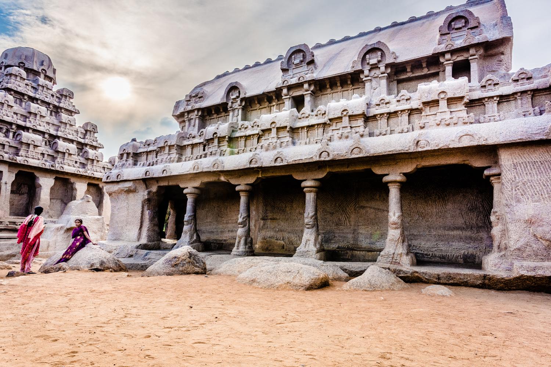 Ancient monolithic temples at Pancha Rathas,Mahabalipuram (aka Mamallapuram).