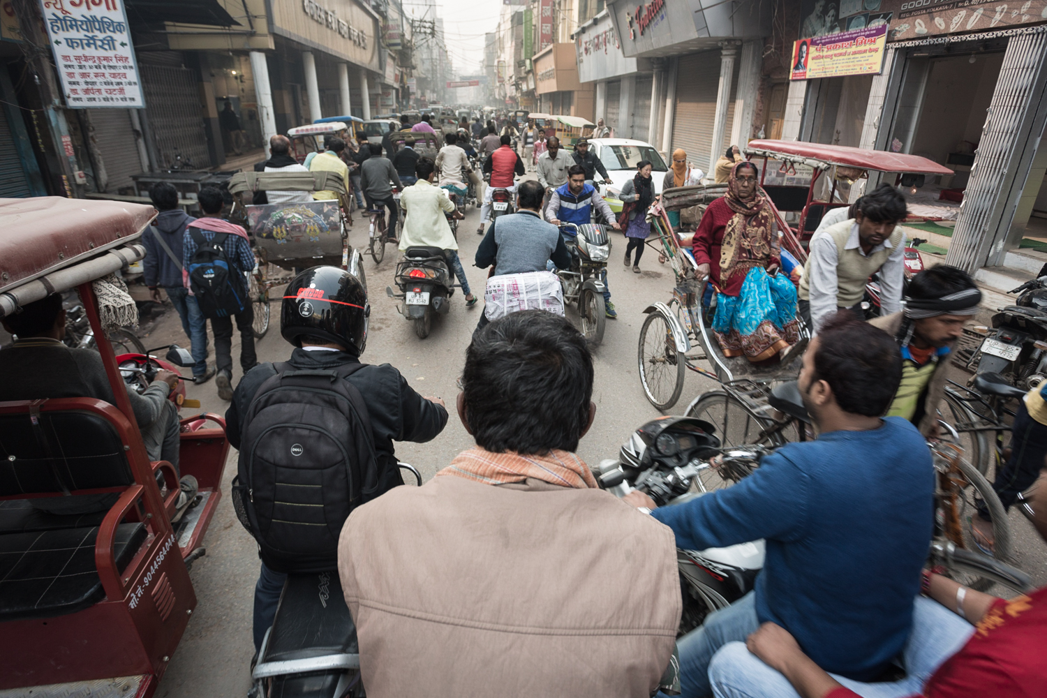 Typical bustling Indian street in Varanasi.