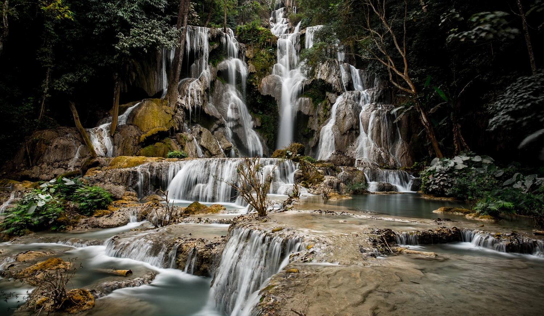 The exquisite Kuang Si Falls, 30 km from Luang Prabang.