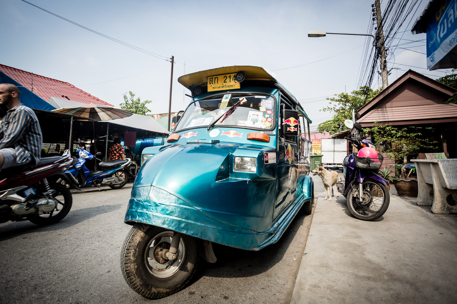 All the tuk-tuks in Ayuthaya have variations of this unique retro look.