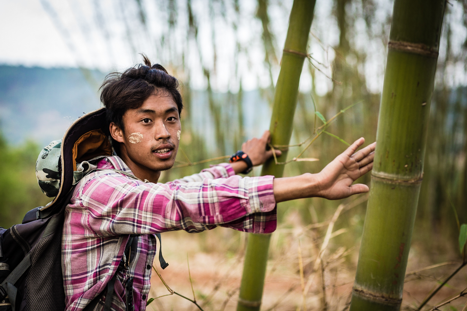 Aakash, our guide, explaining to us how the locals use bamboo.