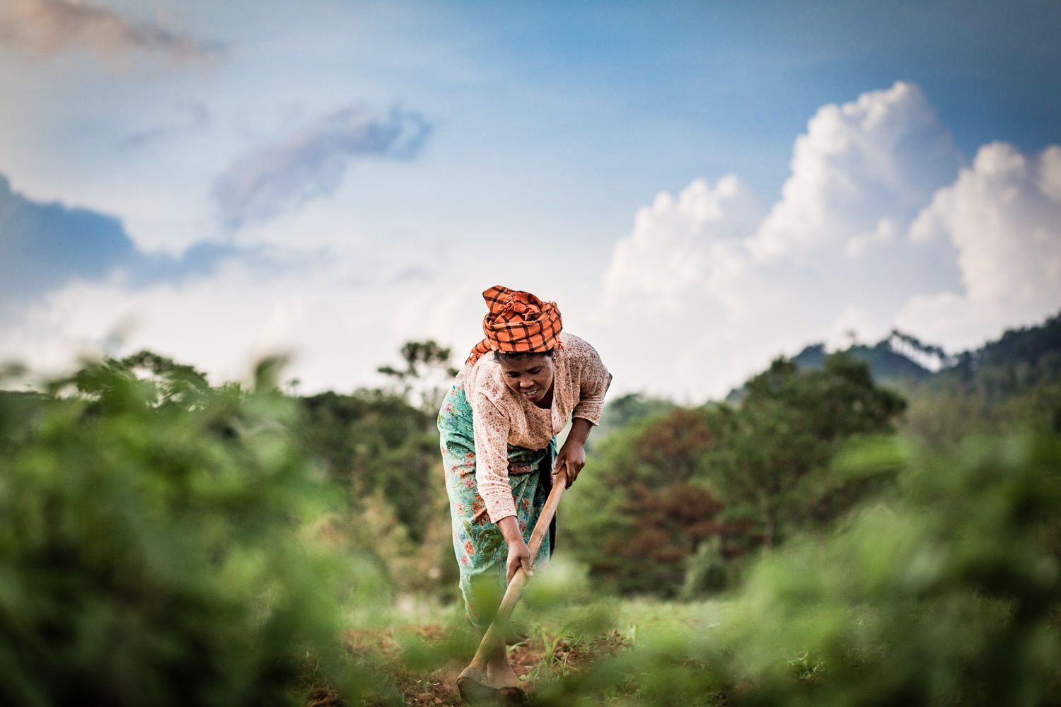 Woman plowing in the outskirts of Htee Their village.