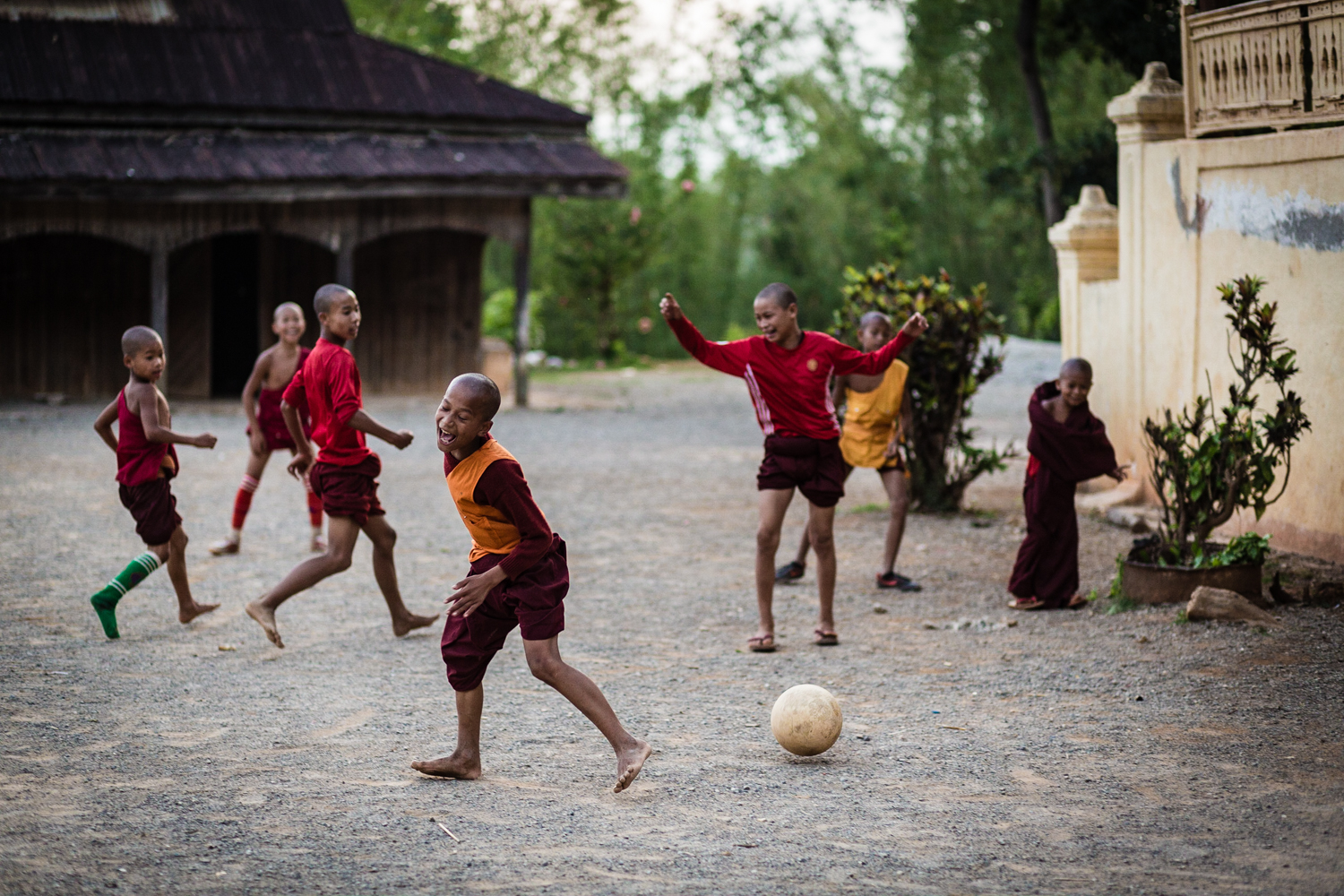 Young monks playing soccer at the Htee Their village monastery, where we spent our last night.