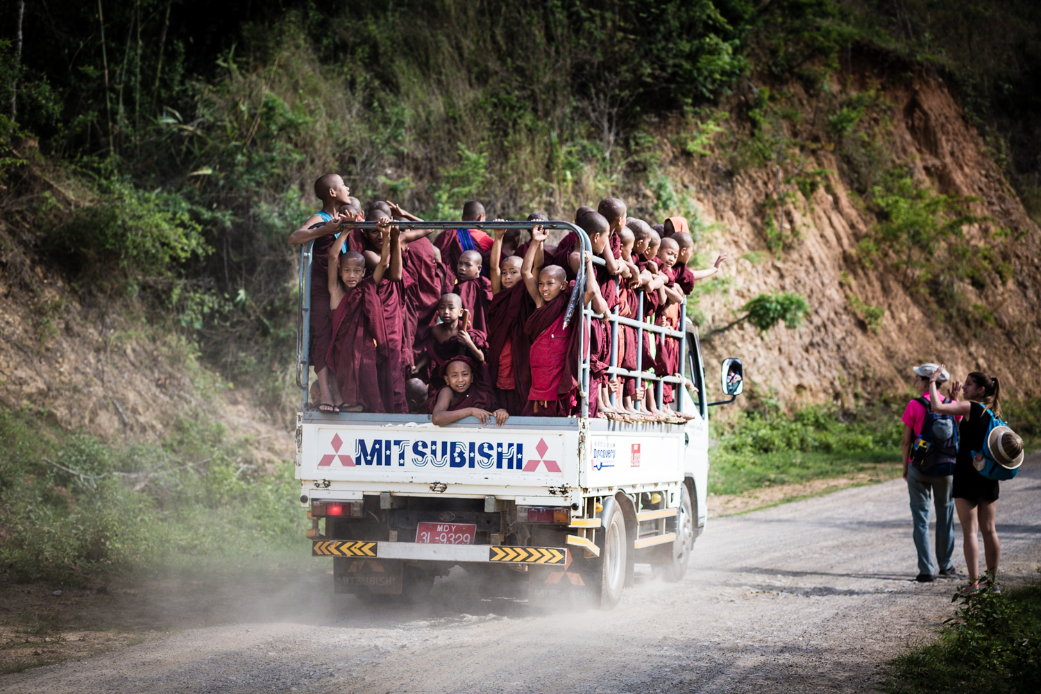 After we let the monastery, the monks passed on on their way somewhere.