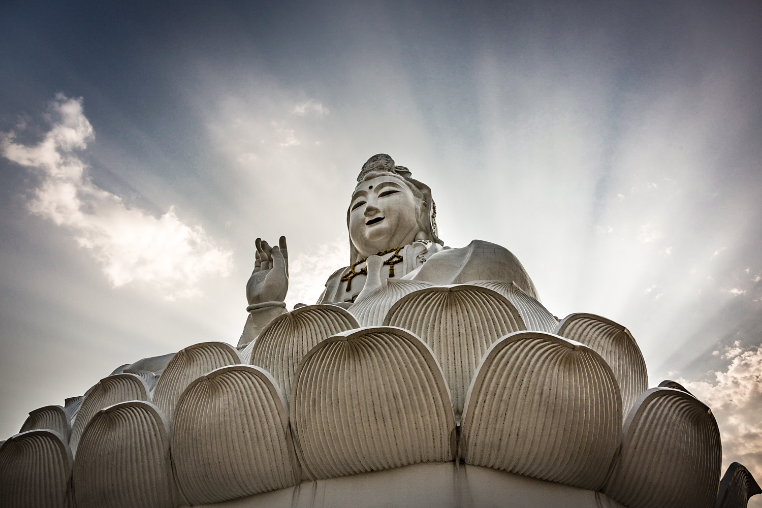 During my visit to the 40-story Buddha at Wat Huai Pla Kung, a break in the clouds occasioned these heavenly rays.