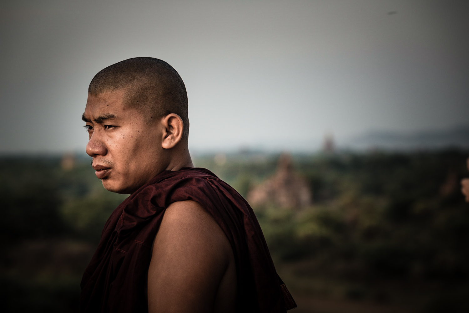 A monk watching the sunrise.