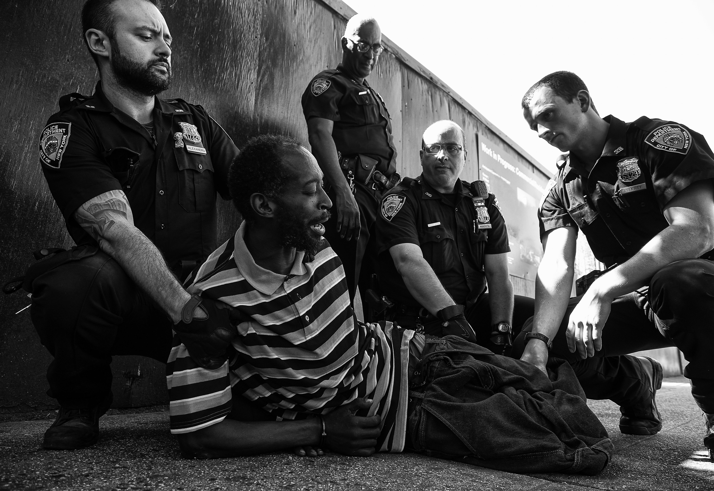A homeless man is arrested in an area of East Harlem that has experienced a surge in the use of synthetic marijuana, on Friday, September 18, 2015 in New York, N.Y.