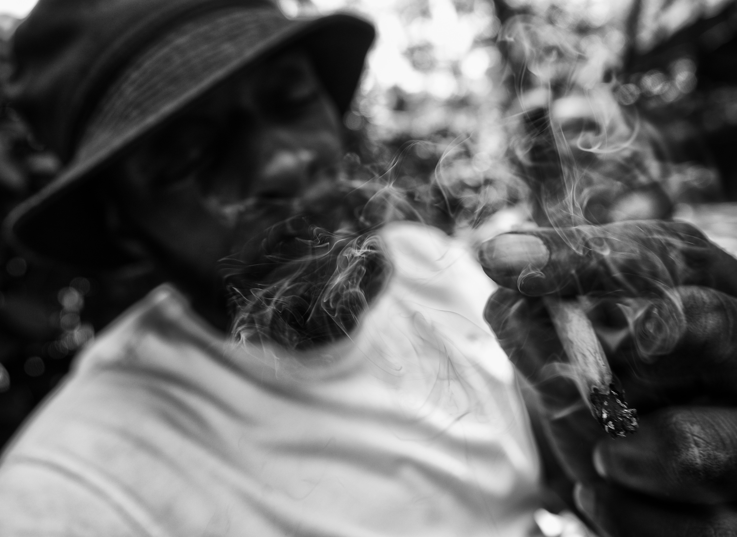 A man smokes synthetic marijuana in Marcus Garvey Park on Friday, September 18, 2015 in New York, N.Y.