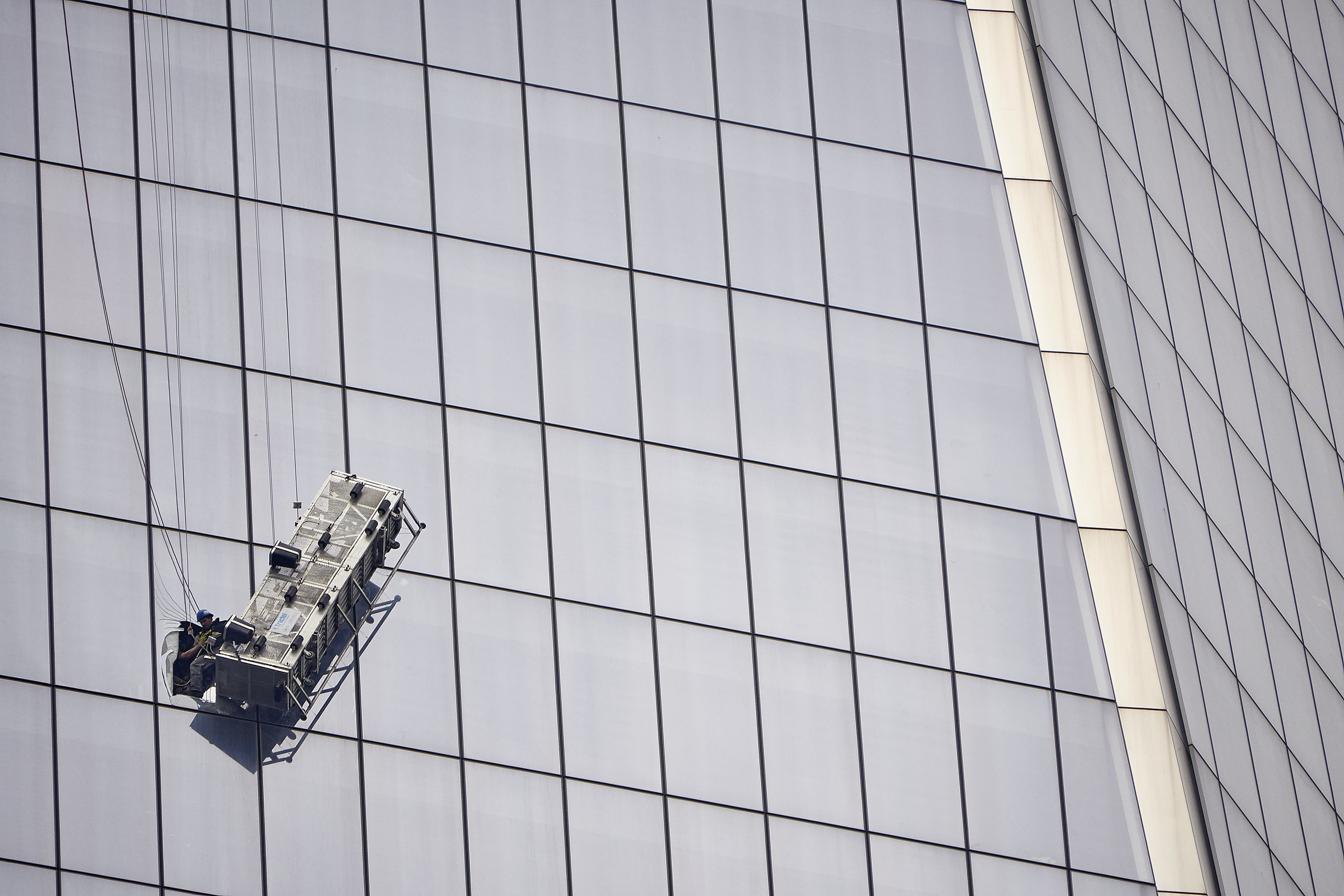 Two window washers were rescued from a scaffolding dangling 69 floors above lower Manhattan at 1 World Trade Center on Wednesday, Nov. 12, 2014 in New York, N.Y.