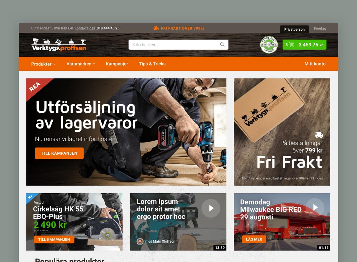Verktygsproffsen website design -