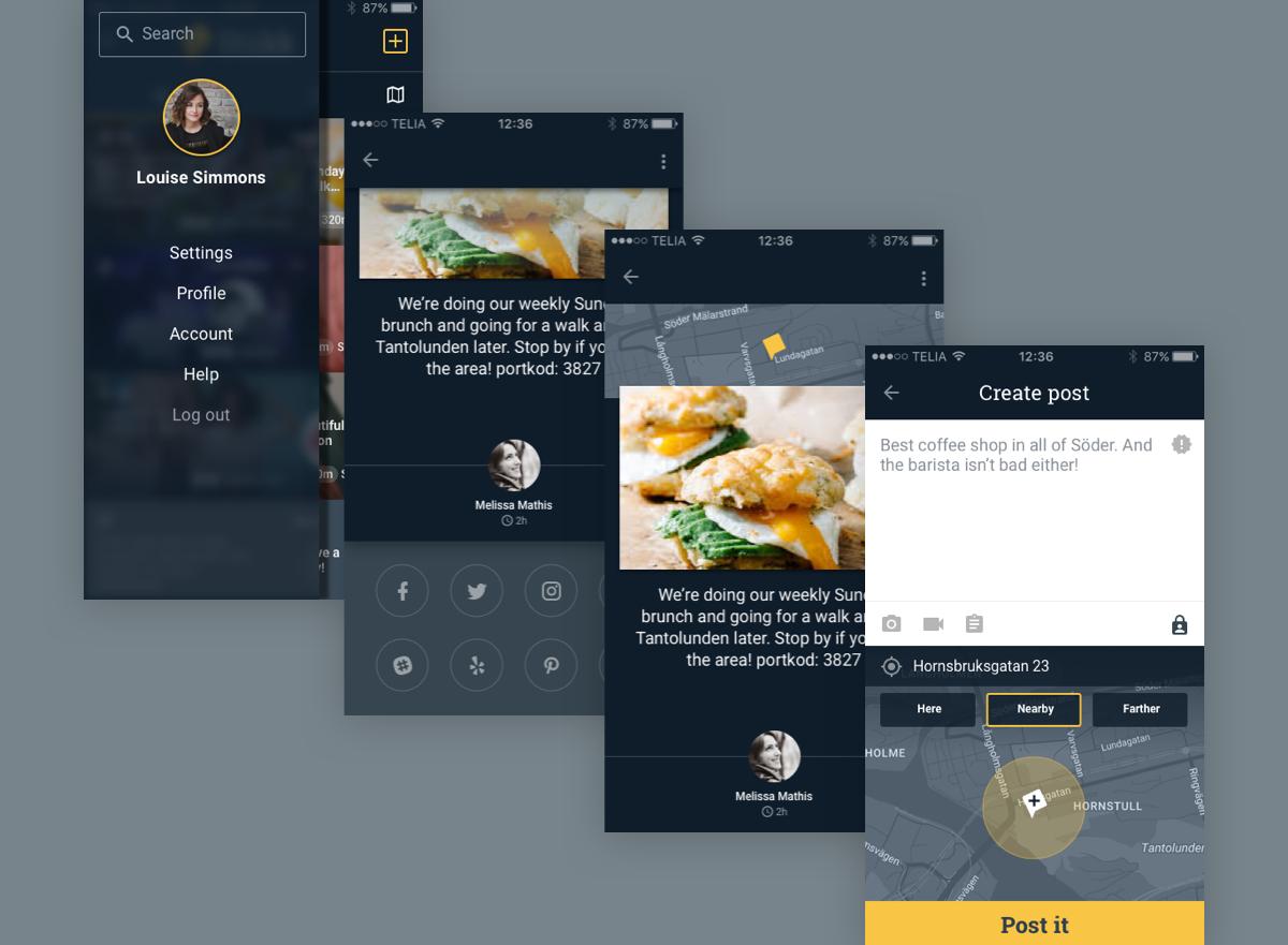 location-based app ux, design, branding -