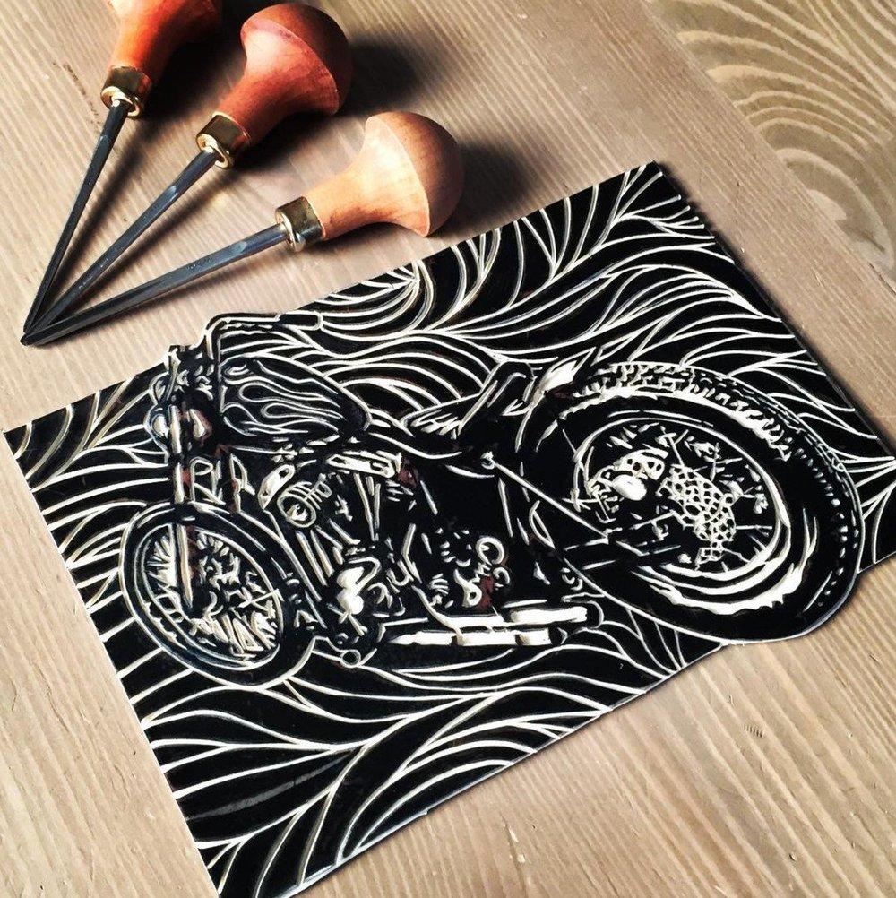 1976 Shovelhead Linocut shop prints -