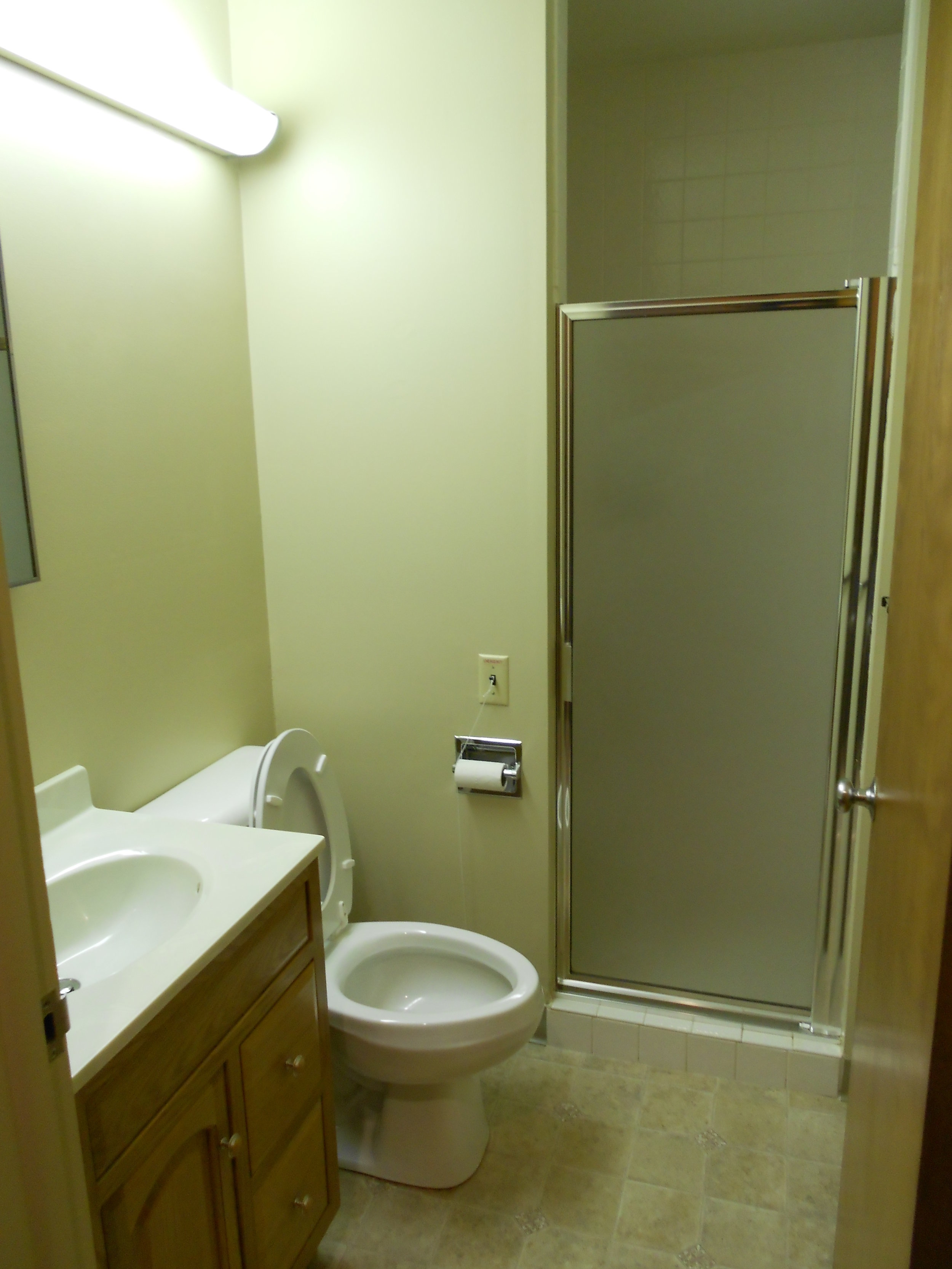 Bathroom in the one bedroom unit