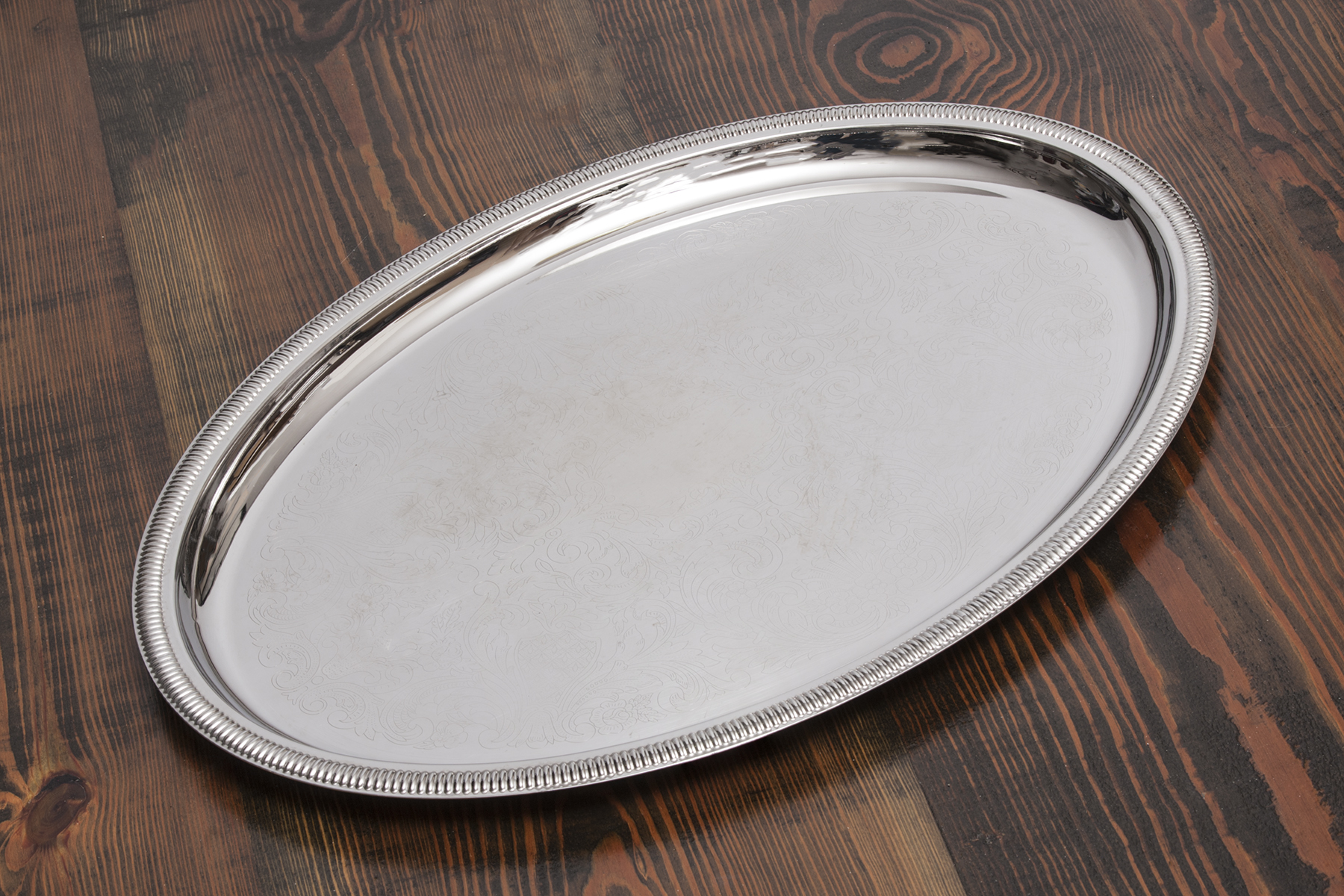 Oval Silver Serving Tray