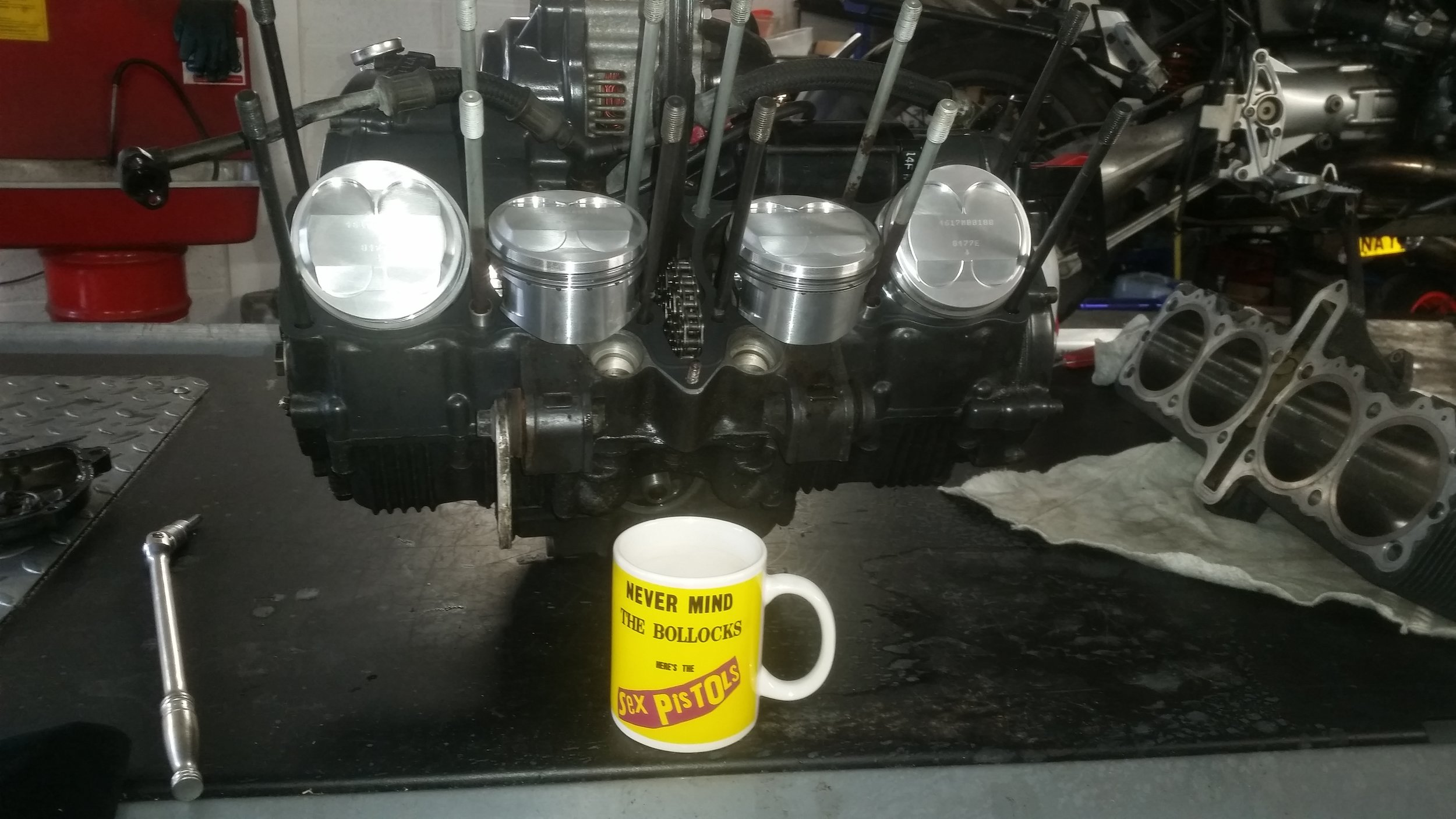 New pistons fitted.