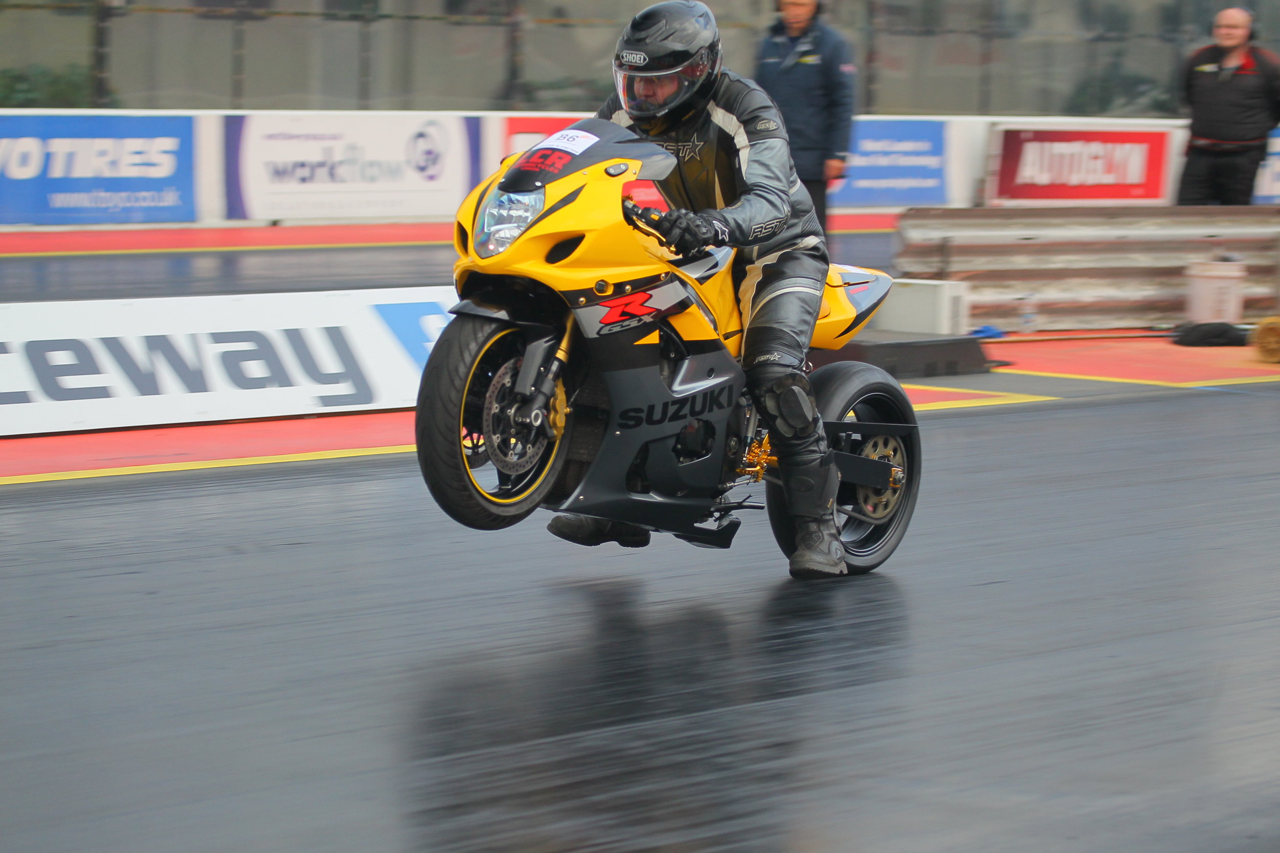 Extreme bike weekendat Santa Pod.The track is not wet just very grippy i think i need a new lockup clutch.