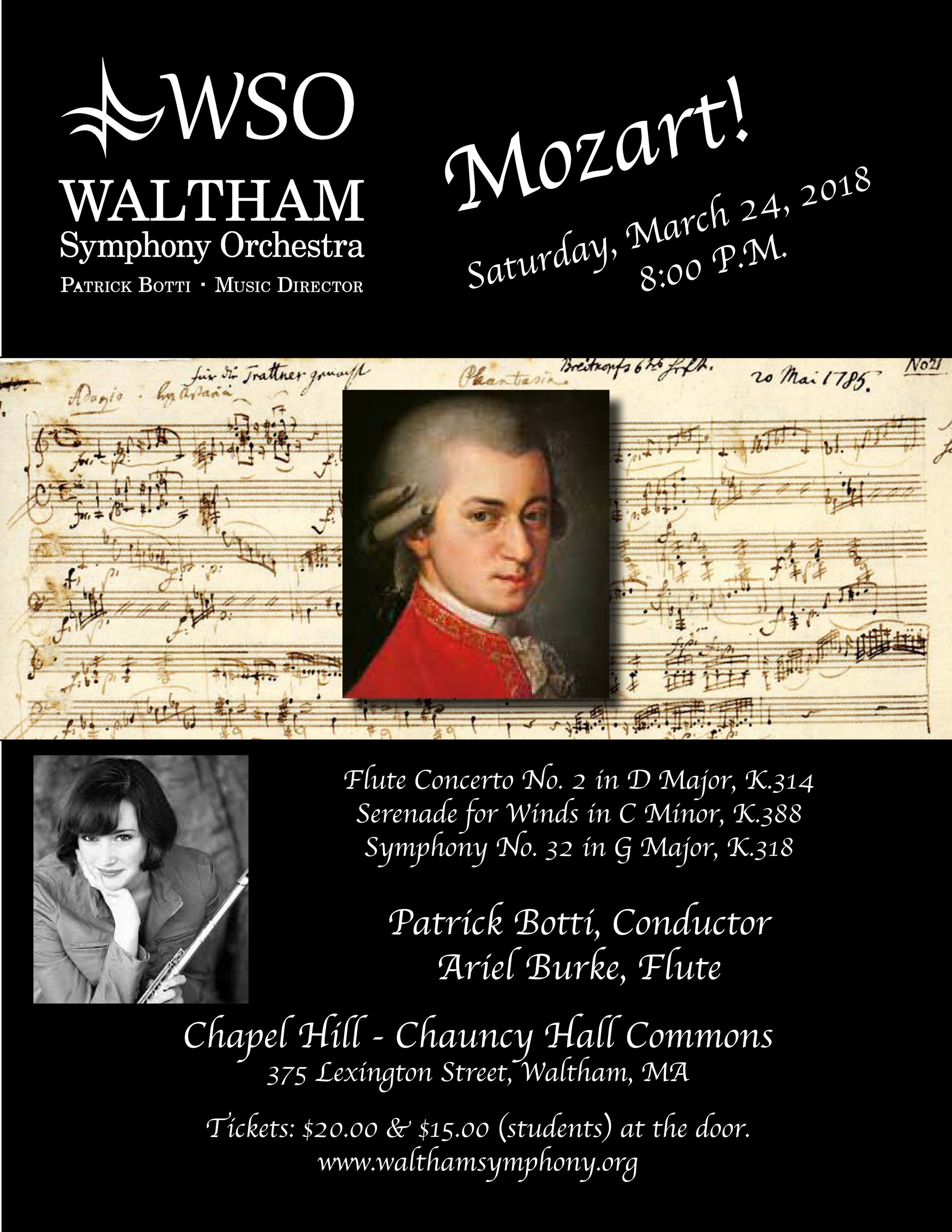 The WSO will perform music by Mozart under the baton of WSO Music Director Patrick Botti. Featuring WSO principal flutist, Arielle Burke.